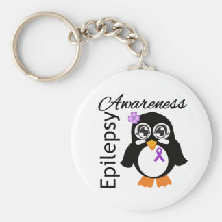 Pingüino de la conciencia de la epilepsia llavero redondo tipo pin