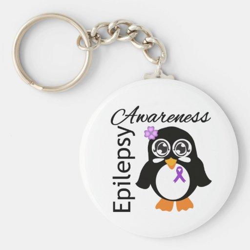 Pingüino de la conciencia de la epilepsia llaveros