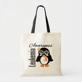 Pingüino de la conciencia de la leucemia bolsas de mano