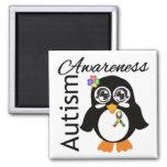 Pingüino de la conciencia del autismo imanes para frigoríficos
