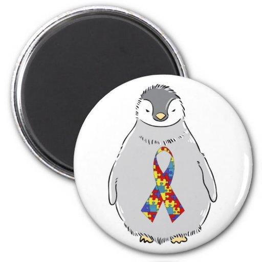 Pingüino de la conciencia del autismo imán
