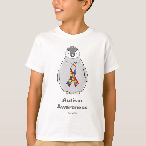 Pingüino de la conciencia del autismo playeras