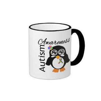 Pingüino de la conciencia del autismo tazas