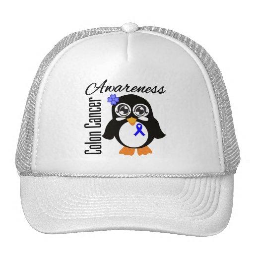 Pingüino de la conciencia del cáncer de colon gorra