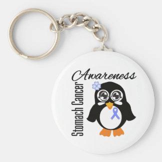 Pingüino de la conciencia del cáncer de estómago llavero personalizado