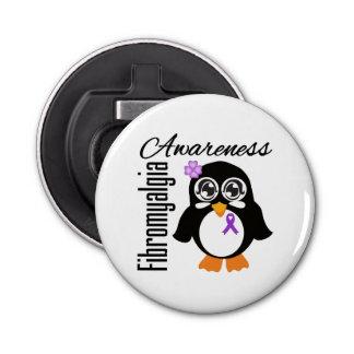 Pingüino de la conciencia del Fibromyalgia Abrebotellas Redondo