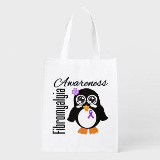 Pingüino de la conciencia del Fibromyalgia Bolsas Reutilizables
