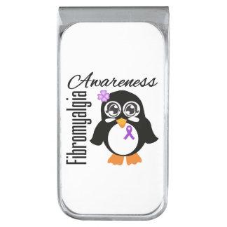 Pingüino de la conciencia del Fibromyalgia Clip Para Billetes Plateado