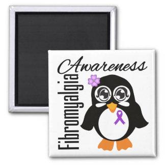 Pingüino de la conciencia del Fibromyalgia Imán Cuadrado