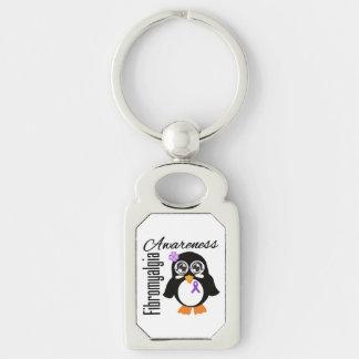 Pingüino de la conciencia del Fibromyalgia Llavero Plateado Rectangular