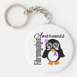 Pingüino de la conciencia del Fibromyalgia Llavero Redondo Tipo Pin