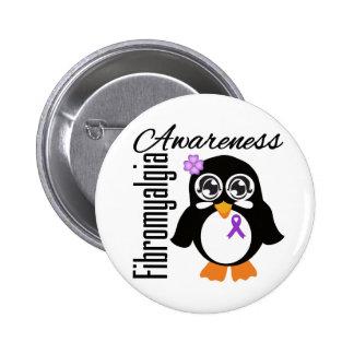 Pingüino de la conciencia del Fibromyalgia Pin Redondo 5 Cm
