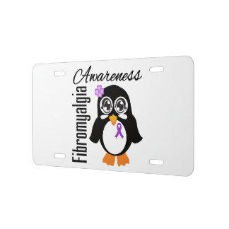 Pingüino de la conciencia del Fibromyalgia Placa De Matrícula