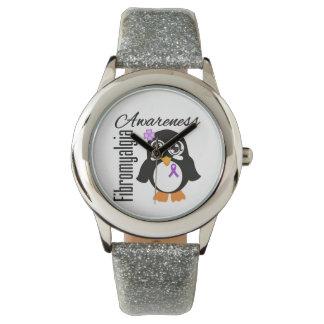 Pingüino de la conciencia del Fibromyalgia Relojes