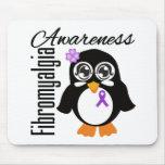 Pingüino de la conciencia del Fibromyalgia Tapete De Ratón