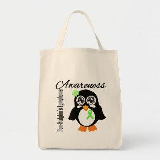 Pingüino de la conciencia del linfoma Non-Hodgkin Bolsa Tela Para La Compra