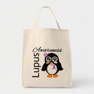 Pingüino de la conciencia del lupus bolsa tela para la compra