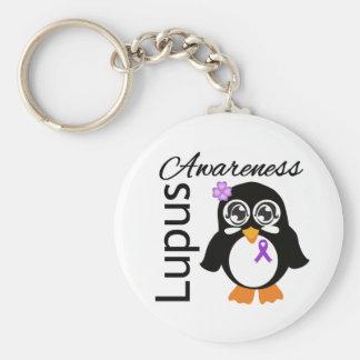 Pingüino de la conciencia del lupus llavero redondo tipo pin