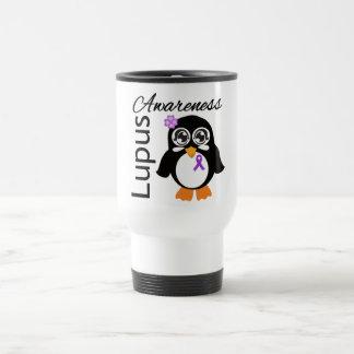 Pingüino de la conciencia del lupus taza de viaje de acero inoxidable
