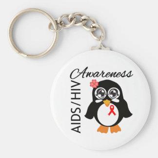 Pingüino de la conciencia del VIH del SIDA Llavero Personalizado