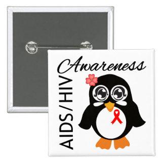 Pingüino de la conciencia del VIH del SIDA Pin Cuadrado