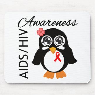 Pingüino de la conciencia del VIH del SIDA Tapete De Raton