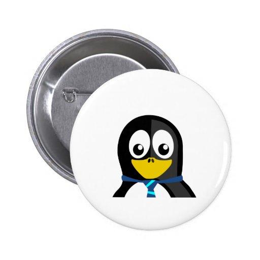 Pingüino de la corbata pin redondo 5 cm
