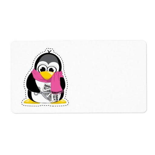 Pingüino de la cupón etiqueta de envío