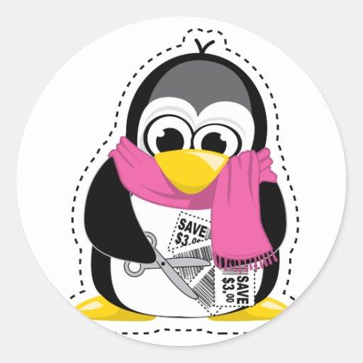 Pingüino de la cupón pegatinas redondas