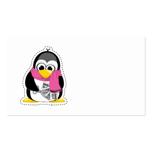 Pingüino de la cupón tarjeta de negocio