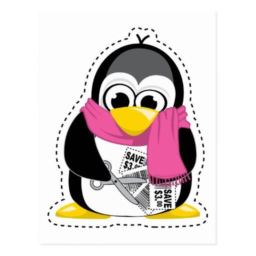 Pingüino de la cupón postal