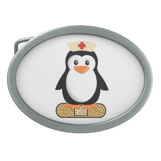 Pingüino de la enfermera hebilla cinturon oval