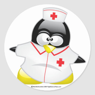 Pingüino de la enfermera pegatina redonda