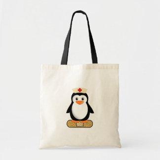 Pingüino de la enfermera (w/bandaid) bolsa tela barata