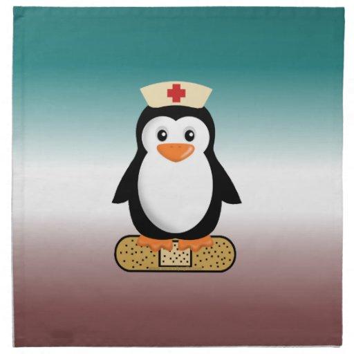 Pingüino de la enfermera (w/bandaid) servilleta de papel