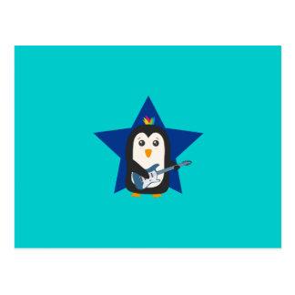 Pingüino de la guitarra de la roca postales