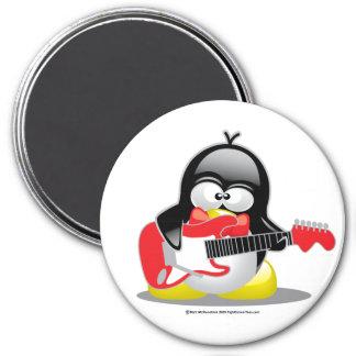 Pingüino de la guitarra eléctrica imán redondo 7 cm
