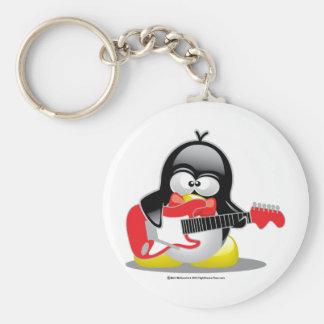 Pingüino de la guitarra eléctrica llavero redondo tipo pin