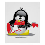 Pingüino de la guitarra eléctrica poster