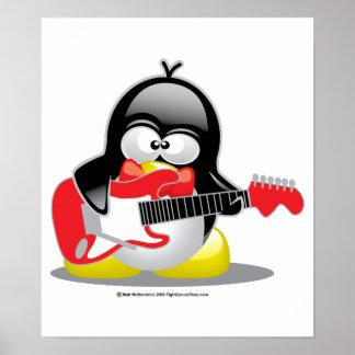 Pingüino de la guitarra eléctrica póster