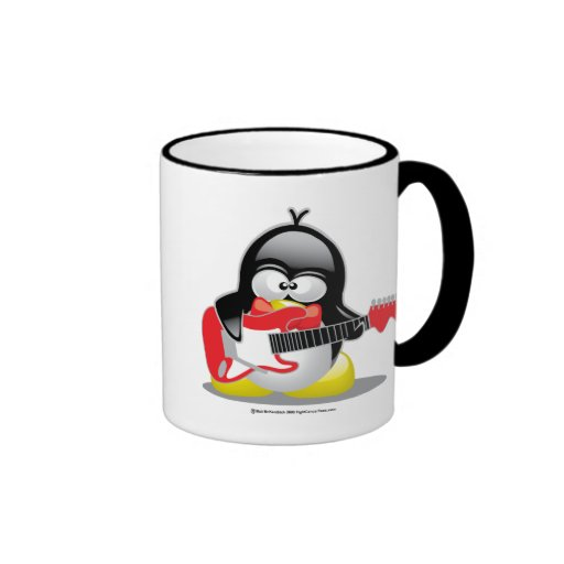 Pingüino de la guitarra eléctrica taza de café