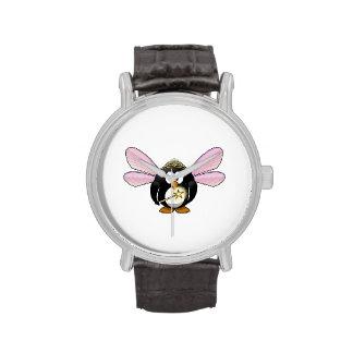 Pingüino de la hada del dibujo animado relojes