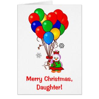 Pingüino de la hija de las Felices Navidad con los Tarjeta De Felicitación