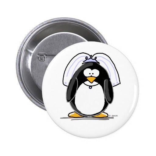 Pingüino de la novia pin redondo 5 cm