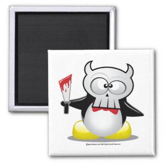 Pingüino de la película de terror imán cuadrado