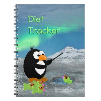 Pingüino de la pesca del hielo spiral notebook