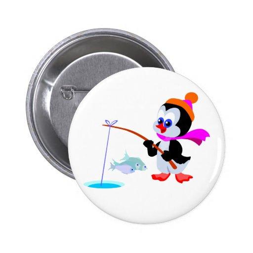 Pingüino de la pesca pin