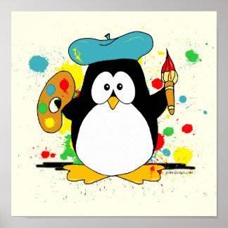 Pingüino de la pintura póster