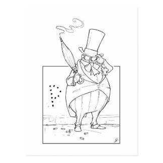 Pingüino de la pipa tarjeta postal