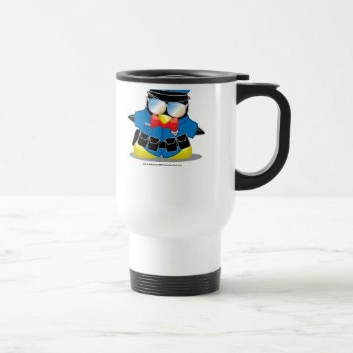 Pingüino de la policía taza de viaje